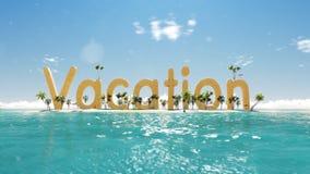 férias da palavra 3d na ilha tropical do paraíso com palmeiras barracas de um sol Imagem de Stock Royalty Free