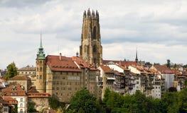 fribourg老瑞士城镇 库存照片