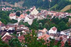 Fribourg city in dusk,Switzerland Royalty Free Stock Images