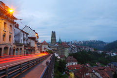 Fribourg in dusk Stock Photos