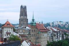 Fribourg i skymning Royaltyfri Bild