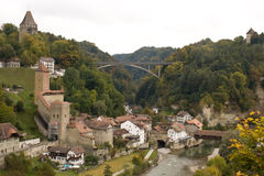 Fribourg. Switzerland. Fribourg. Freiburg. View on the old city and river Saane, or Sarine Royalty Free Stock Image