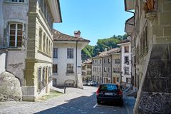 Street view of OLD Town Fribourg, Switzerland Royalty Free Stock Photos