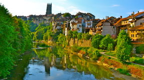 Fribourg, Switzerland. A river view of Fribourg, Switzerland stock photography