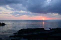 África, puesta del sol en Mont Choisy en Mauricio Imágenes de archivo libres de regalías