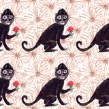 Frida black monkey seamless gouache pattern and surreal beige flowers vector illustration