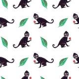 Frida czerni małpy bezszwowy wzór z zielonymi liśćmi ilustracja wektor