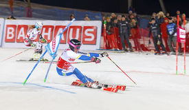 Frida Hansdotter skiing at a slalom event Stock Image