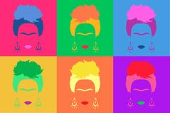 Frida Kahlo background Colored Vector Illustration Pop Art Style Andy Warhol Royalty Free Stock Photography