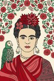 Frida Kahlo. Hand drawn colorful portrait of Frida Kahlo, with floral background, red flowers in her hair and a parrot on her shoulder