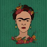 Frida Kahlo. March 15, 2017: Set of hand drawn vector portraits of famous Mexican artist Frida Kahlo Royalty Free Stock Photo