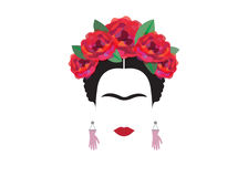 Frida Kahlo minimalist portrait with earrings hands. And red flower Stock Images