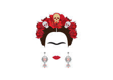 Frida Kahlo minimalist portrait with earrings and roses Stock Photography