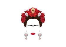 Frida Kahlo minimalist portrait with earrings and roses stock illustration