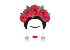 Frida Kahlo minimalist portrait with earrings and roses. Portrait of Mexican woman with skulls , Mexican crafts earrings and red flowers, minimalist Frida Kahlo vector illustration