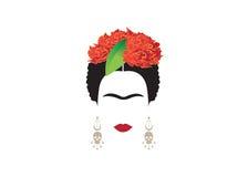 Frida Kahlo minimalist stående med örhängen, rosor och skallar stock illustrationer