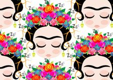 Frida Kahlo pattern cartoon. Transparent background Royalty Free Stock Image