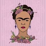 Frida Kahlo portrait. March 15, 2017: Set of hand drawn vector portraits of famous Mexican artist Frida Kahlo Royalty Free Stock Photography