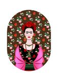 Frida Kahlo portrait, Mexican woman with a traditional hairstyle. Mexican crafts jewelry and red flowers. Vector. Frida Kahlo portrait, mexican woman with a vector illustration