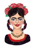 Frida Kahlo Portrait royaltyfri illustrationer