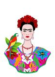 Frida Kahlo  portrait with parrot, young beautiful mexican woman with a traditional hairstyle, isolated Royalty Free Stock Photography