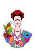 Frida Kahlo stående med papegojan, ung härlig mexikansk kvinna med en traditionell frisyr som isoleras royaltyfri illustrationer