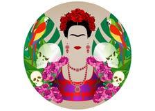 Frida Kahlo stående med papegojor och skallar de diameter los muertos död dag Blom- bakgrund, isolerad vektordiadem royaltyfri illustrationer