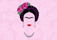 Frida Kahlo ung härlig mexicansk kvinna med en traditionell frisyr vektor illustrationer