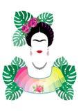 Frida Kahlo ung härlig mexicansk kvinna med en traditionell frisyr royaltyfri illustrationer