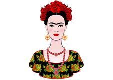 Free Frida Kahlo Vector Portrait, Graphic Interpretation, With Mexican Ethnic Jewellery Royalty Free Stock Photography - 108849747