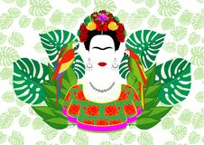 Free Frida Kahlo Vector Portrait, Graphic Interpretation With Parrots And Exotic Floral In The Green Background Stock Image - 104364821