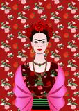 Frida Kahlo vector portrait, mexican woman with a traditional hairstyle. Mexican crafts jewelry and red flowers. Vector. Frida Kahlo vector portrait, mexican stock illustration