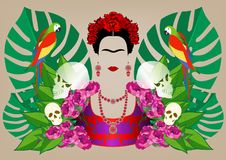 Frida Kahlo vector portrait , young beautiful mexican woman with a traditional hairstyle, Mexican crafts jewelry and dress stock illustration