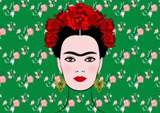 Frida Kahlo vector portrait , young beautiful mexican woman with a traditional hairstyle, isolated or floral background Royalty Free Stock Image