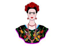 Frida Kahlo vector portrait , young beautiful mexican woman with a traditional hairstyle, Mexican crafts jewelry and dress. Vector isolated. Frida Ethnic vector illustration