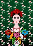 Frida Kahlo vector portrait , young beautiful mexican woman with a traditional hairstyle, Mexican crafts jewelry and dress. Vector isolated or floral vector illustration
