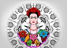 Frida Kahlo-Vektorporträt, junge schöne mexikanische Frau mit einer traditionellen Frisur, Mexikaner macht Schmuck und Kleid in H lizenzfreie abbildung