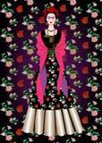 Frida Kahlo-Vektorporträt, mexikanische Frau mit einer traditionellen Frisur Mexikaner macht Schmuck und rote Blumen in Handarbei lizenzfreie abbildung