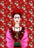 Frida Kahlo vektorstående, mexikansk kvinna med en traditionell frisyr Mexikanen tillverkar smycken och röda blommor vektor stock illustrationer