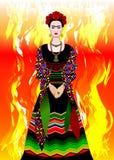 Frida Kahlo vektorstående, mexikansk kvinna med en traditionell frisyr Mexikanen tillverkar smycken och röda blommor vektor royaltyfri illustrationer