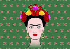 Frida Kahlo vektorstående, ung härlig mexicansk kvinna med en traditionell frisyr stock illustrationer