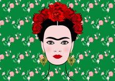 Frida Kahlo vektorstående, ung härlig mexikansk kvinna med en traditionell isolerad eller blom- bakgrund för frisyr, royaltyfri illustrationer