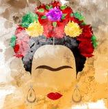 Frida Kahlo vektorstående, vattenfärgstil, handteckning på väggen vektor illustrationer