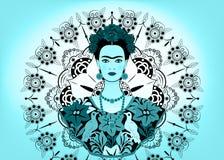 Frida Kahlo wektorowy portret, młoda piękna meksykańska kobieta z tradycyjną fryzurą, meksykanin wykonuje ręcznie biżuterię i suk Fotografia Stock