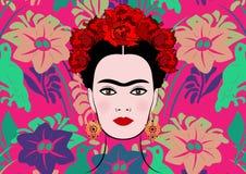 Frida Kahlo wektorowy portret, młoda piękna meksykańska kobieta z tradycyjnym fryzury, odizolowywającego lub kwiecistego tłem, Zdjęcie Stock