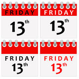 Friday 13. Different calendar designs for Friday the thirteenth (supposedly bringing bad luck Stock Photography