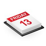Friday 13 calendar. Vector illustration of classic calendar Friday 13 Stock Images