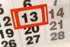 Friday 13th thirteen. Calendar with date of the 13th, conceptual background royalty free stock photography