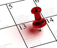 Friday the 13th. Written onto a multilingual calendar with a red thumbtack with transparency Royalty Free Stock Photos