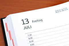 Friday 13th. Calender with Friday 13 th Stock Photography